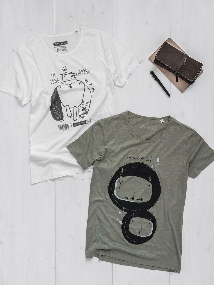 Men's Graphic Tee white organic cotton printed – Monkey Tattoo + Men's Graphic Tee light khaki slub cotton printed – Bugs #deal #combo #tshirts