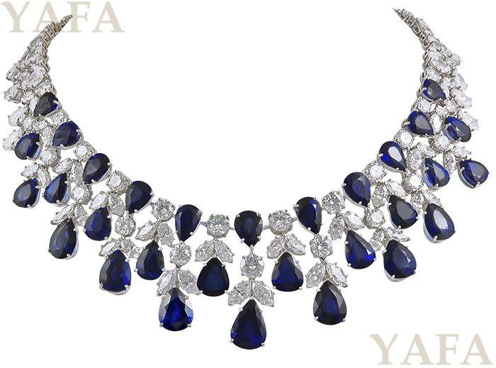 GRAFF Platinum Diamond and Sapphire Necklace - Yafa Jewelry