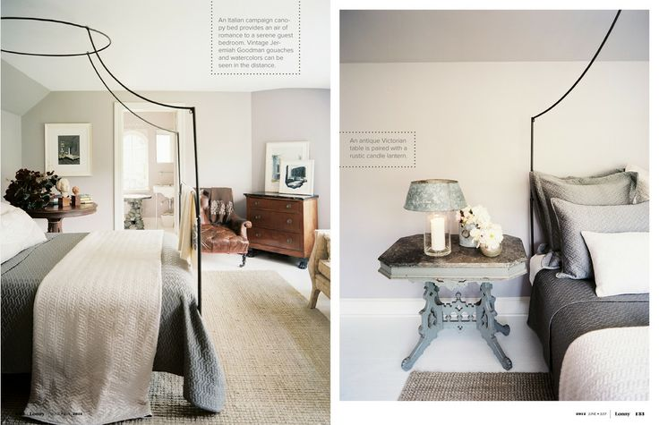 bed frame: Grey Bedrooms, Guest Bedrooms, Grey Colors, Bedrooms Colors, Canopies Beds, Bedside Tables, Beds Frames, Neutral Bedrooms, Lonni Magazines