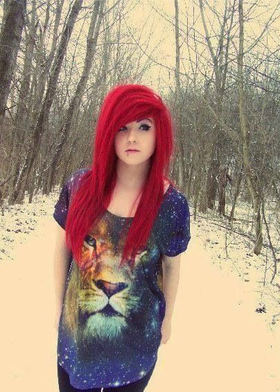 Emo girl with red hair doing gymnastics