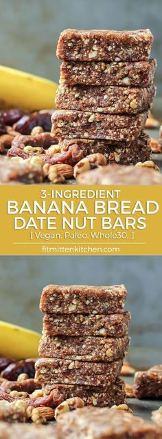 Banana Bread Date Nut Energy Bars! This recipe tastes exactly like the larabar flavor! Love simple ingredients that come together and taste amazing.