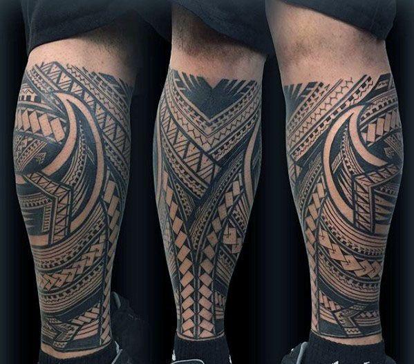 40 Polynesian Leg Tattoo Designs For Men