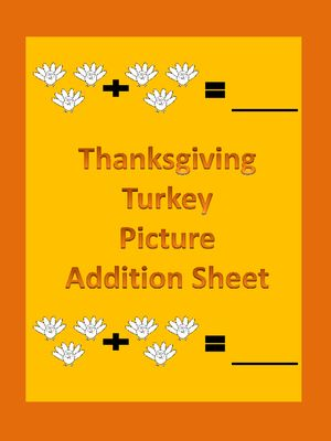 Thanksgiving Turkey Picture Addition Math Worksheet from My Kinder Garden on TeachersNotebook.com -  (3 pages)  - FREEBIE! Here is a Thanksgiving turkey picture addition worksheet. This is a great way to introduce students to the concept of adding sets of numbers together. If you download this free item, please take the time to rate it.
