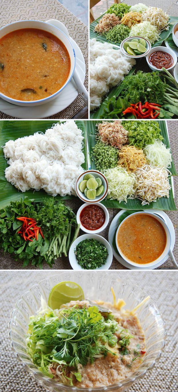 """Lao noodle soup - """"khao poon"""""""