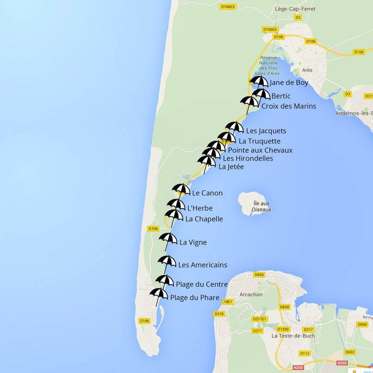 plan des plages du cap ferret côté bassin