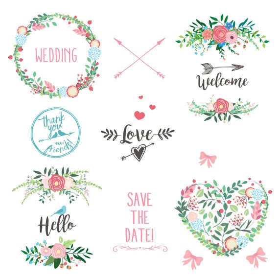 Floral Wedding wreaths Save the Date by TheCutePaperStudio on Etsy