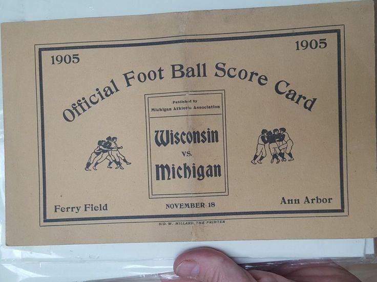 Vintage rare 1905 Michigan Wolverines football program Wisconsin Bagers Ferry | eBay