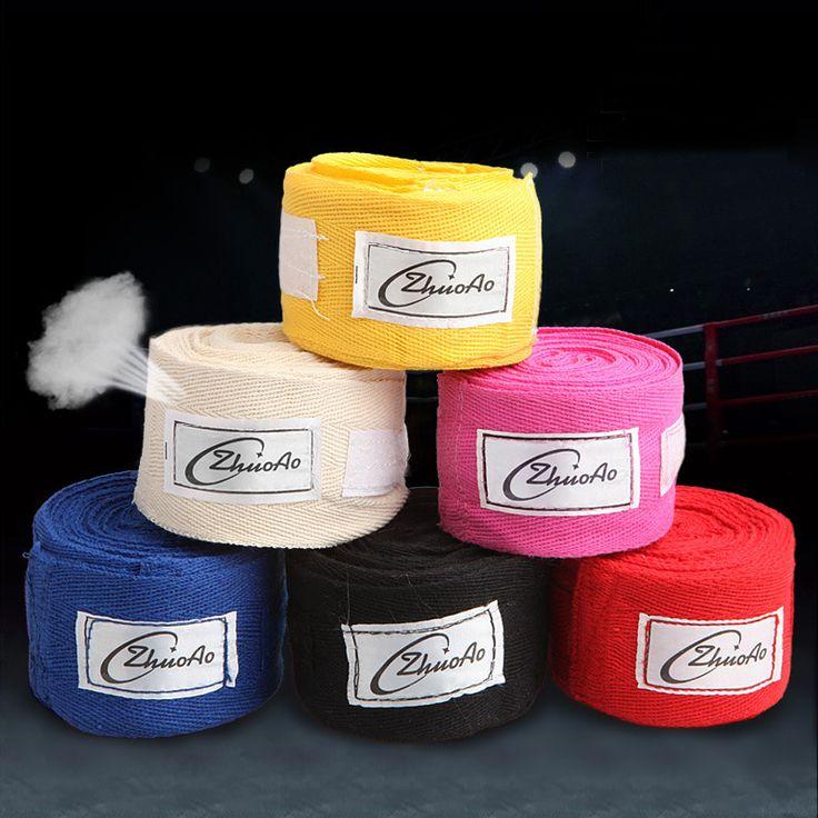 YUETOR 2PCS/SET 3M Length 100% Cotton Sport Wrap Boxing Training Elastic Hand Wraps Bandagem Muay Thai Sanda Boxing Bandage
