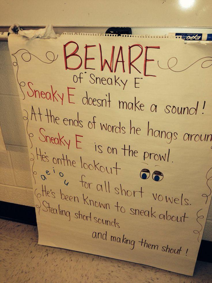 Sneaky E - Silent E Poem | ESL Anchor Charts | Pinterest ...