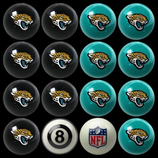 """Let the battle begin.  Take the game of Billiards,Pool Balls,Billiard Balls to a new level with the Jacksonville Jaguars Home vs Away Billiard Balls.  This set of regulation pool table balls showcase the team colors and logo plus an 8 ball and cue ball with the league logo.  Pair with the Jacksonville Jaguars pool table, table felt, pool cue and triangle for a game room with spirit.  These striking billiard balls take on the game of 8-Ball at a whole new level. FEATURES  2 1/4"""" regulatio..."""