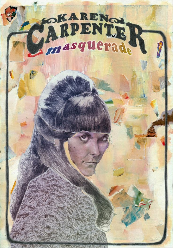 A portrait of Karen Carpenter inspired by her song, masquerade. Her public image, worked as a mask that covered her personal drama of eating disorder, that caused her death.