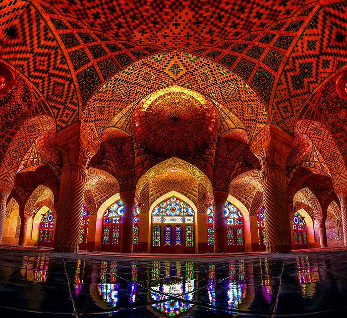 Iran mosque stained glass