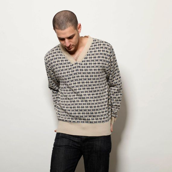 50 off sale Jacquard men pull over sweater by AndyVeEirn on Etsy, $57.00