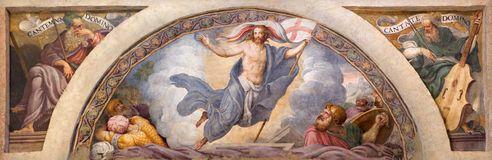 CREMONA, ITALY, 2016: The freso of Resurrection of Jesus in Chiesa di Santa Rita by Giulio Campi (1547) Stock Image