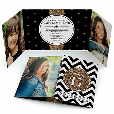 Tassel Worth The Hassle - Gold - Personalized Photo Graduation Invitations | BigDotOfHappiness.com