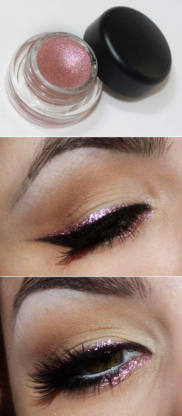 Rose gold glitter liner