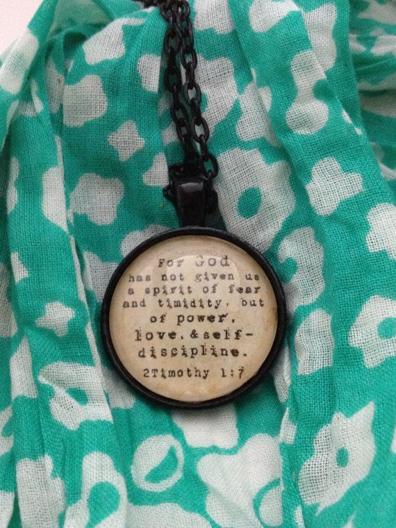 Vintage style necklace pendant 2 Timothy 1:7 Bible verse quote black via Etsy