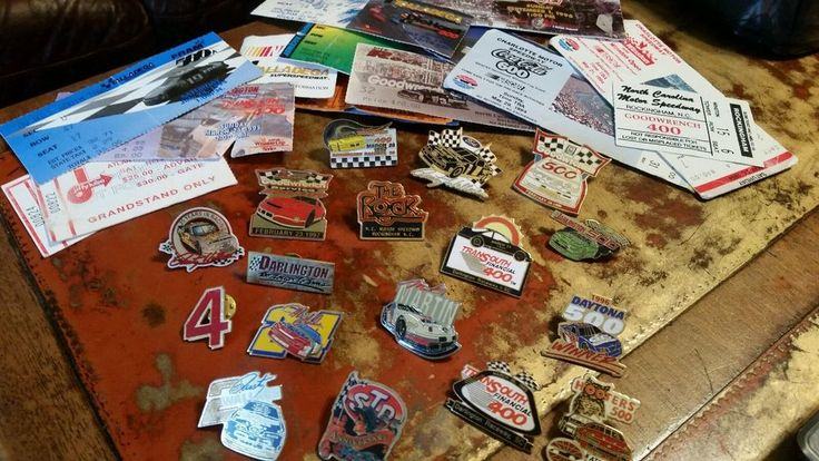 NASCAR Hat Lapel Pin Lot of 17 Martin Gordon Petty 1990'S Ticket Stub The Rock #Nascar
