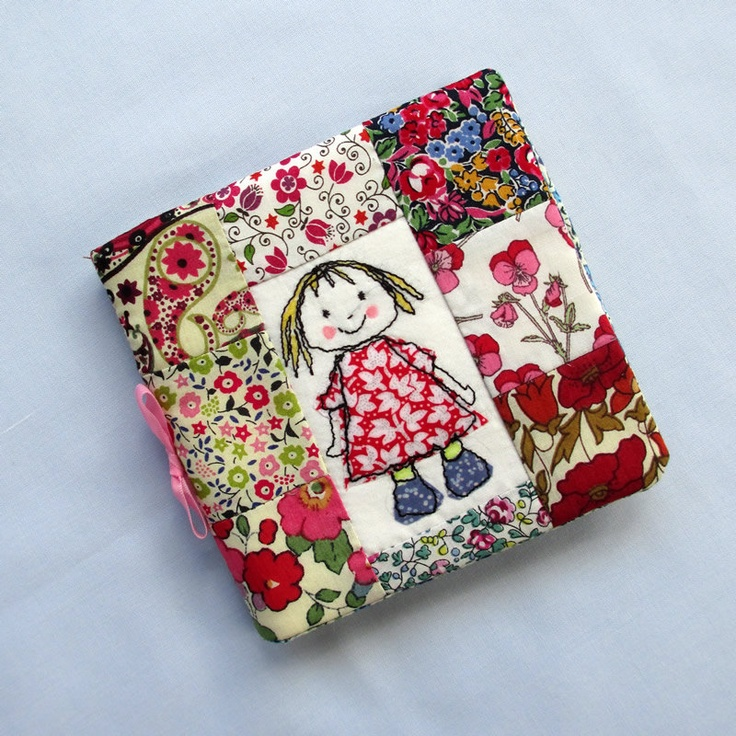 Liberty Tana Lawn patchwork needle case. Applique and machine embroidered doll on front