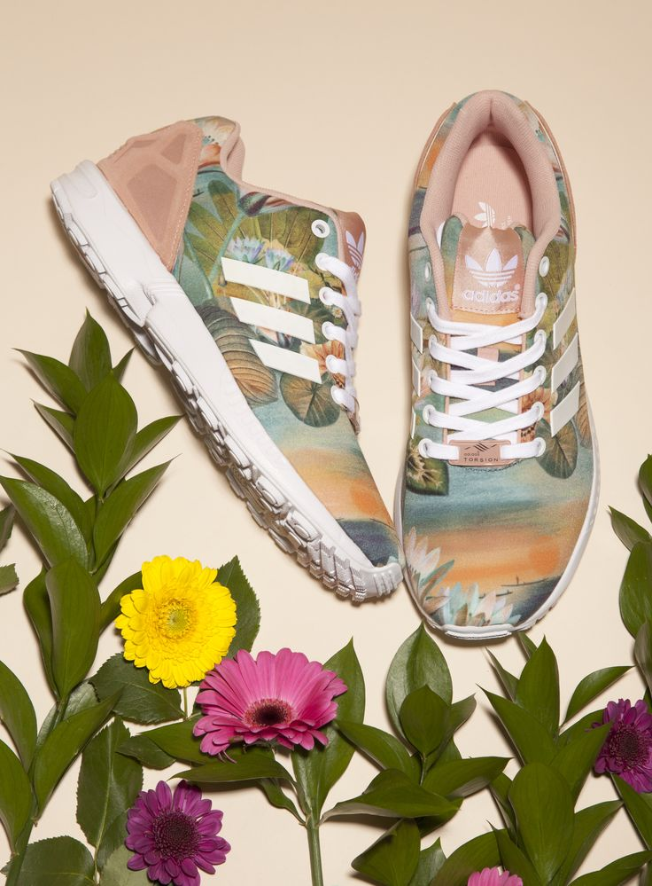 .Pretend to be Walking on a tropical island with these one. Adidas ZX Flux Farm Print Trainers