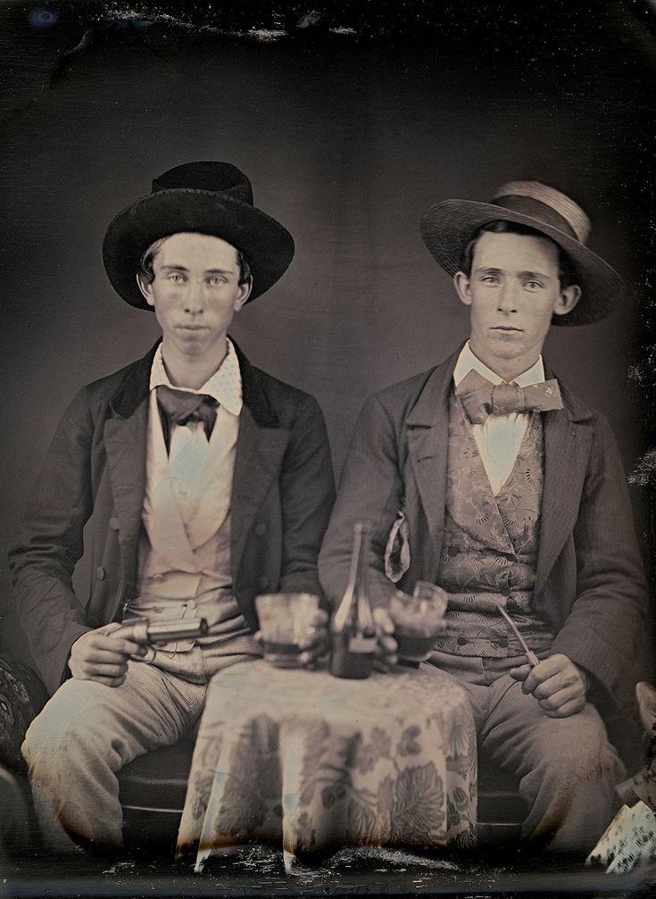 C. 1850 portrait of two unidentified young men drinking liquor by an unknown photographer (collection of the Canadian Photography Institute. NGC, Ottawa)