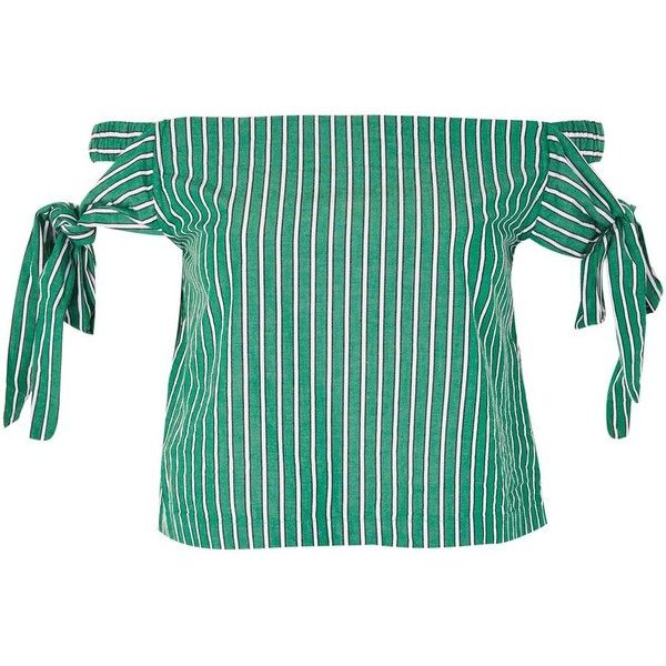 Topshop Tie Side Stripe Bardot Top (850 UAH) ❤ liked on Polyvore featuring tops, green, tie bandeau bikini top, tie top, topshop tops, knot top and green top