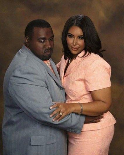 """Zo zouden Kanye West en Kim Kardashian eruit zien zonder personal trainer, facings op hun tanden en een fulltime stylist. Bekijk hier nog meer """"normale"""" celebs: glamour.nl/jf6mdfw8x"""
