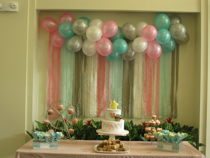Focal point the balloon banner with streamers and for Balloon and streamer decoration ideas