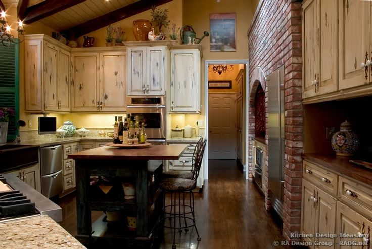 Country French Kitchen Cabinets with an Antique White ...
