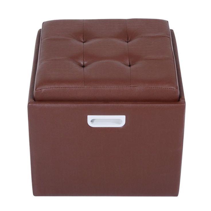 Storage Footstool Brown Faux Leather Wooden Frame Living Room Bedroom Furniture