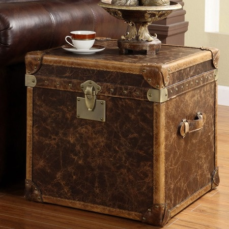 Duroby Steamer Leather End Table   The Marvelous Man Cave On Joss And Main