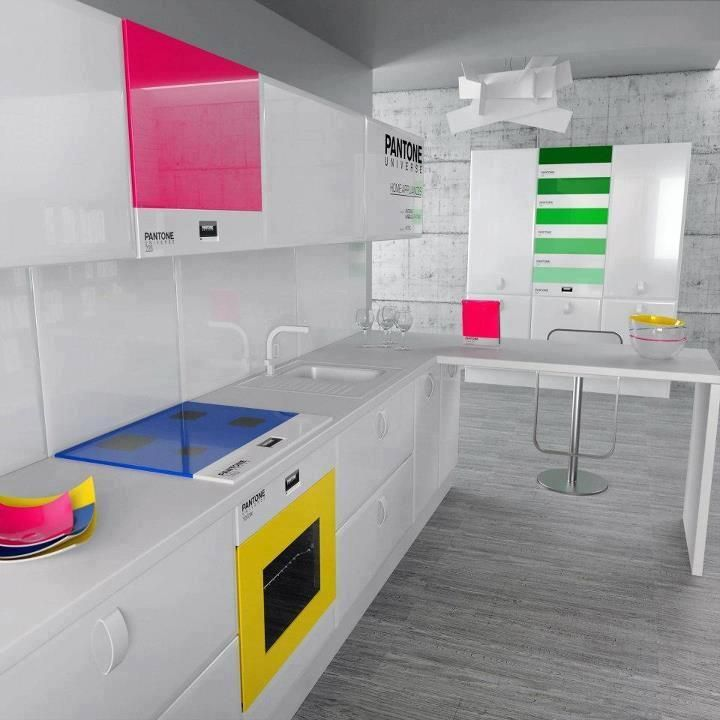 pantone kitchen: Idea, Dreams Kitchens, Kitchens Design, Interiors Design, Pantone Kitchens, Neon Colors, House, Modern Kitchens, Bright Colors