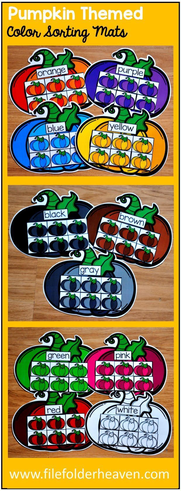 These Pumpkin Themed Color Sorting Mats include 11 unique sorting mats that focus on sorting pumpkins by color.  In a center or independent work station, students sort colored pumpkins into the mats that are the same color. Colored mats included are:  red blue green orange yellow pink purple brown gray black  white