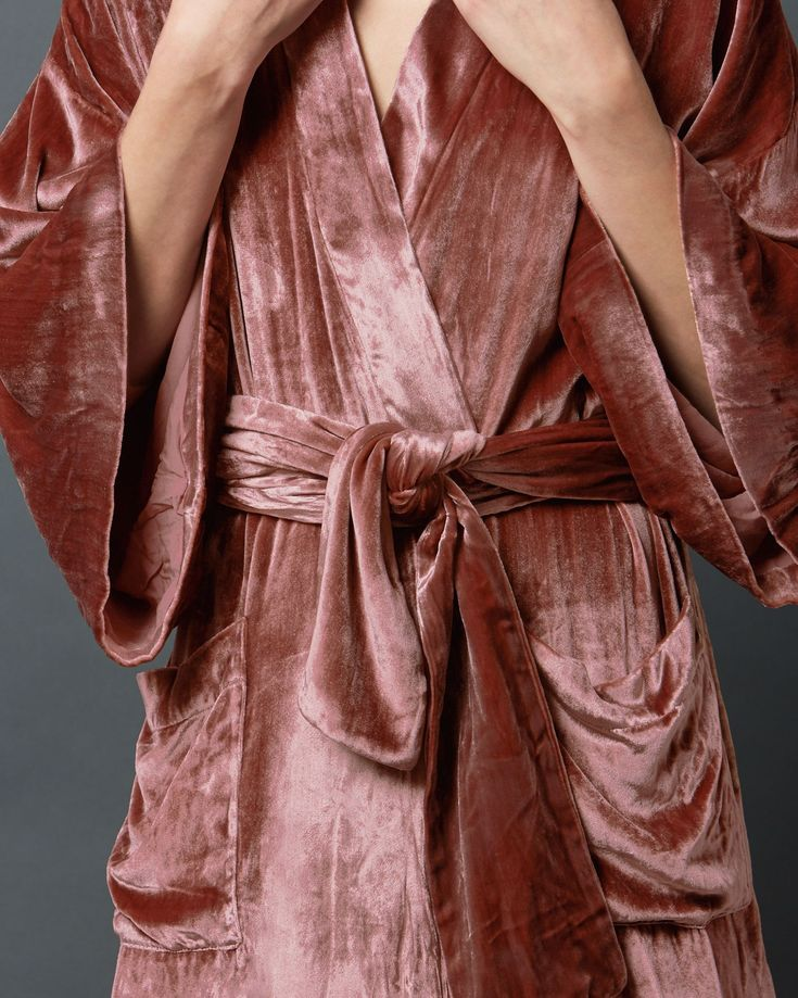 SILK VELVET KIMONO GOWN | Sumptuous long gown with traditional kimono sleeves in a fluid silk and viscose velvet.