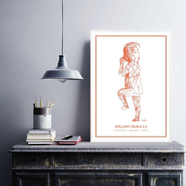 Poster 1, orange/white
