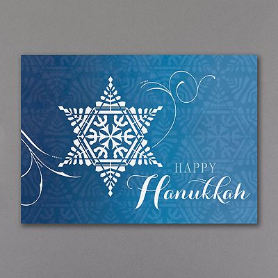 Star of David Snowflake Holiday Card A wintery swirl delivers this snowflake-designed Star of David and a wish for a Happy Hanukkah.  Now 30% off at www.invitationsforless.com