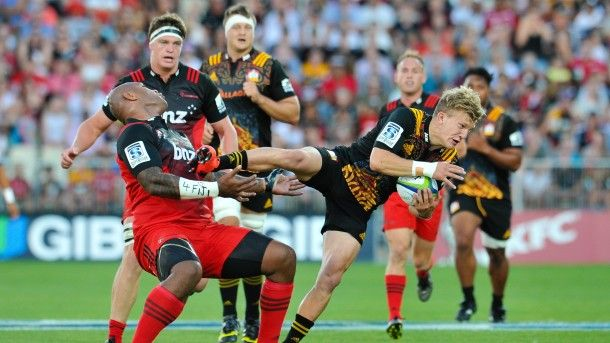 Fulltime: Chiefs 23 Crusaders 13 Damian McKenzie of the Chiefs takes a high ball from Nemani Nadolo of the Crusdaers  during the Super Rugby Match, Crusaders V Chiefs, AMI Stadium, Christchurch, New Zealand. 27th Febuary 2016. Copyright Photo: John Davidson / www.photosport.nz