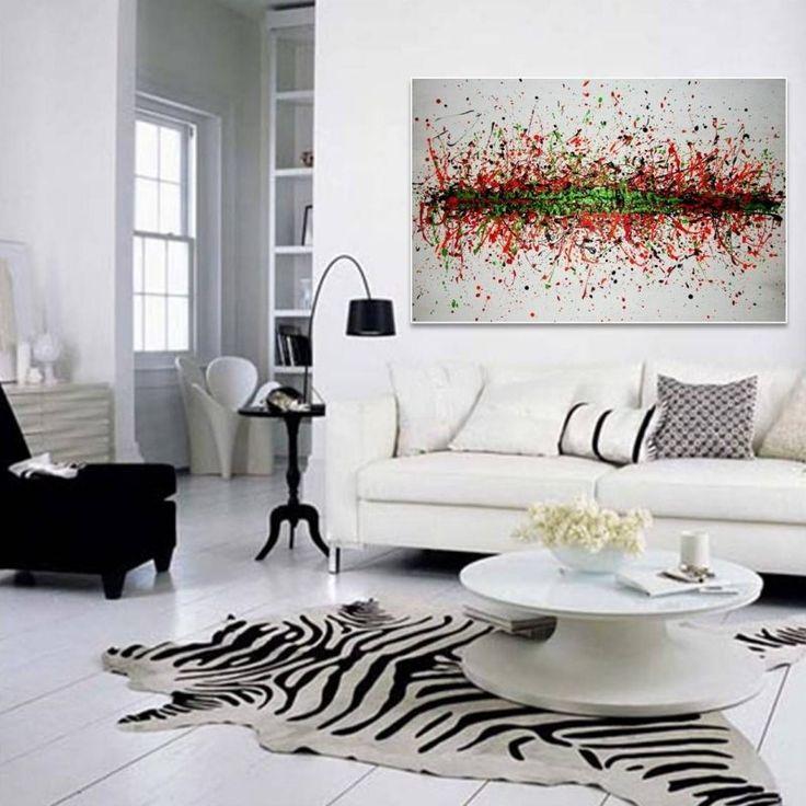 Tableau abstrait dans la salon en 25 idées de déco murale