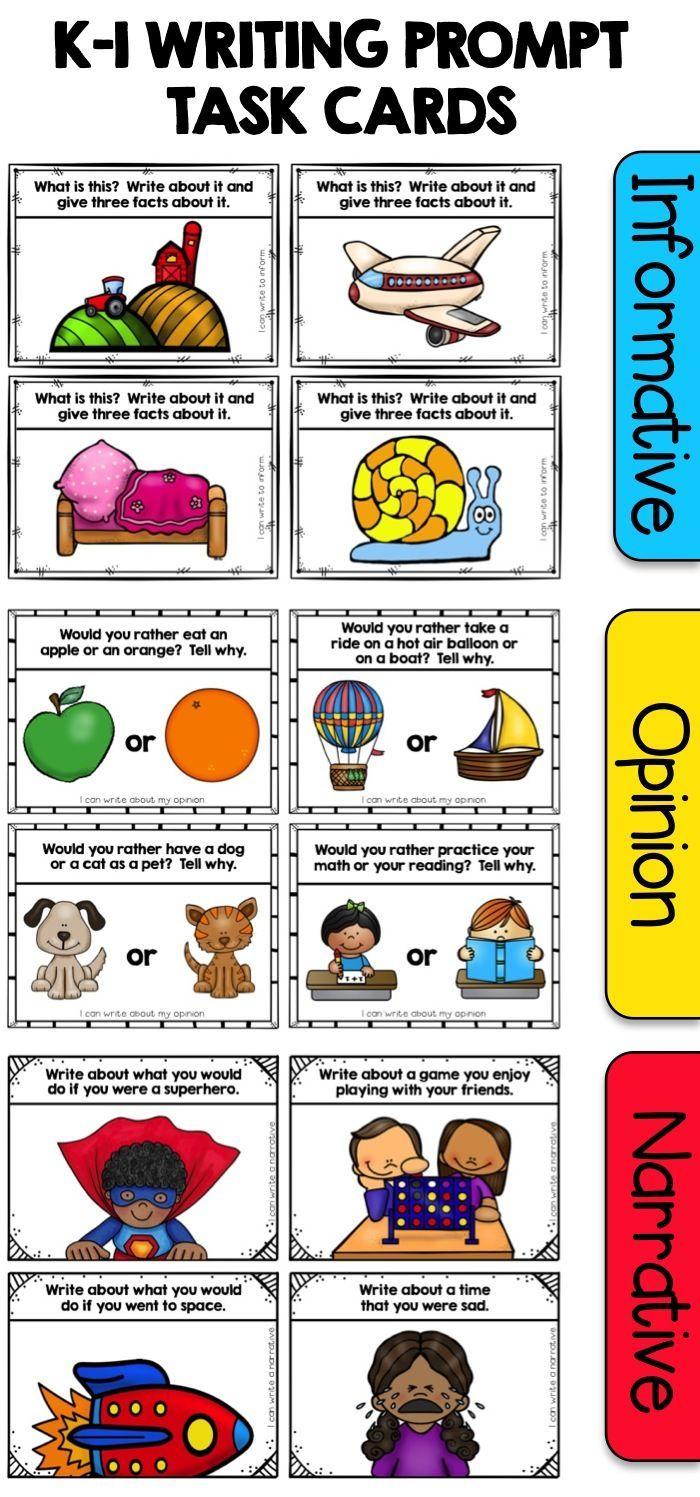Kindergarten Writing Prompt Task Cards | *ECH Language Arts