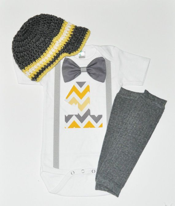 Baby Boy/Toddler chevron cake smash outfit gray and by RYLOwear