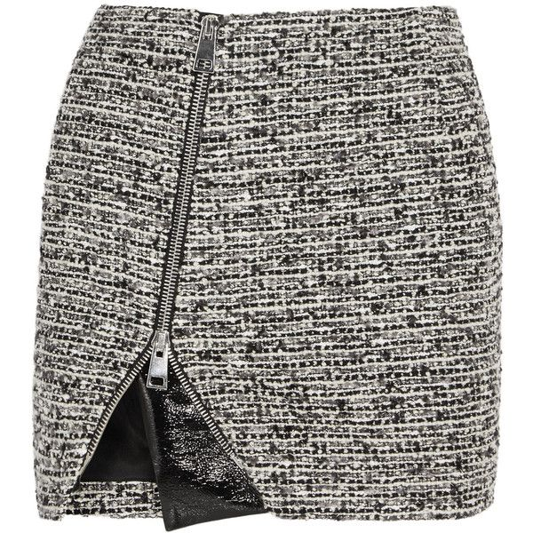Bouchra Jarrar Wool-blend tweed and faux patent-leather mini skirt ($350) ❤ liked on Polyvore featuring skirts, mini skirts, юбки, grey, asymmetrical mini skirt, asymmetrical zipper skirt, bouchra jarrar, zipper skirt and short skirts