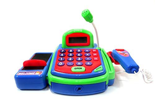 pretend play toy cash register battery operated with real