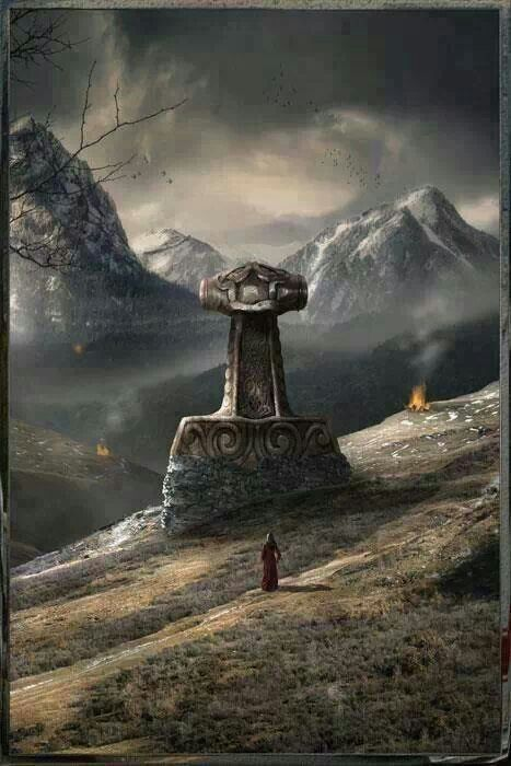 """Thor's hammer, Mjølnir. From the post on Modi: he is fated to """"drag Thor's Hammer Mjollnir to the meadows where survivors will gather to rebuild the world."""""""