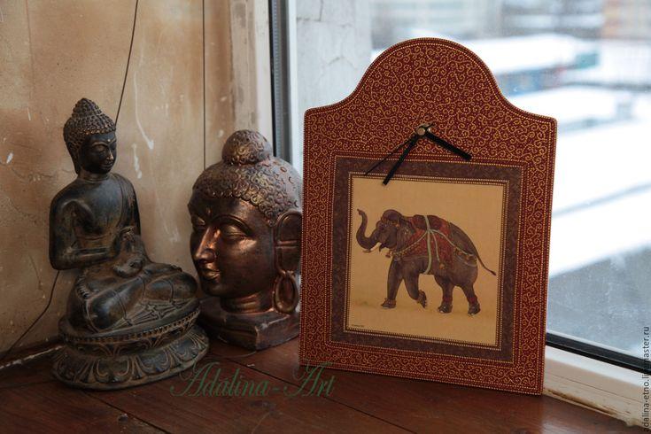 Купить ИНДИЙСКИЙ СЛОН - часы интерьерные - слон, индийский слон, этно, часы, часы настенные