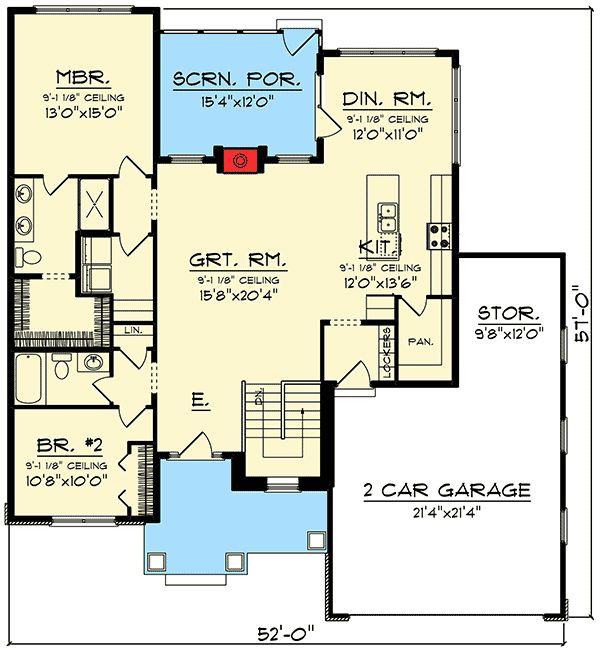Plan 89981AH: 2 Bed Ranch with Open Concept Floor Plan