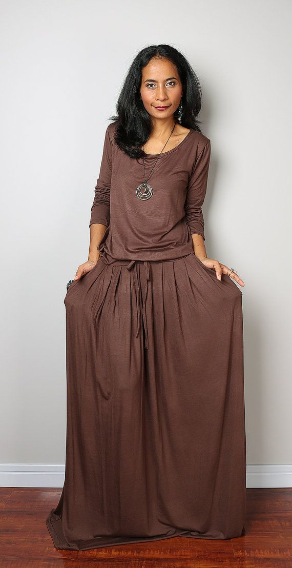 Brown Maxi Dress - Soft Brown Long Sleeve Dress : Autumn Thrills Collection No.1 (Best Seller)