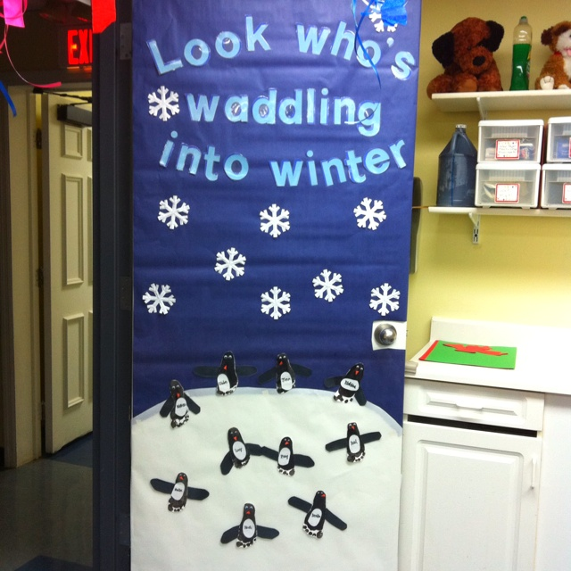 penguin door decorating ideas. Cute Winter Door :) Love The Penguins Penguin Decorating Ideas