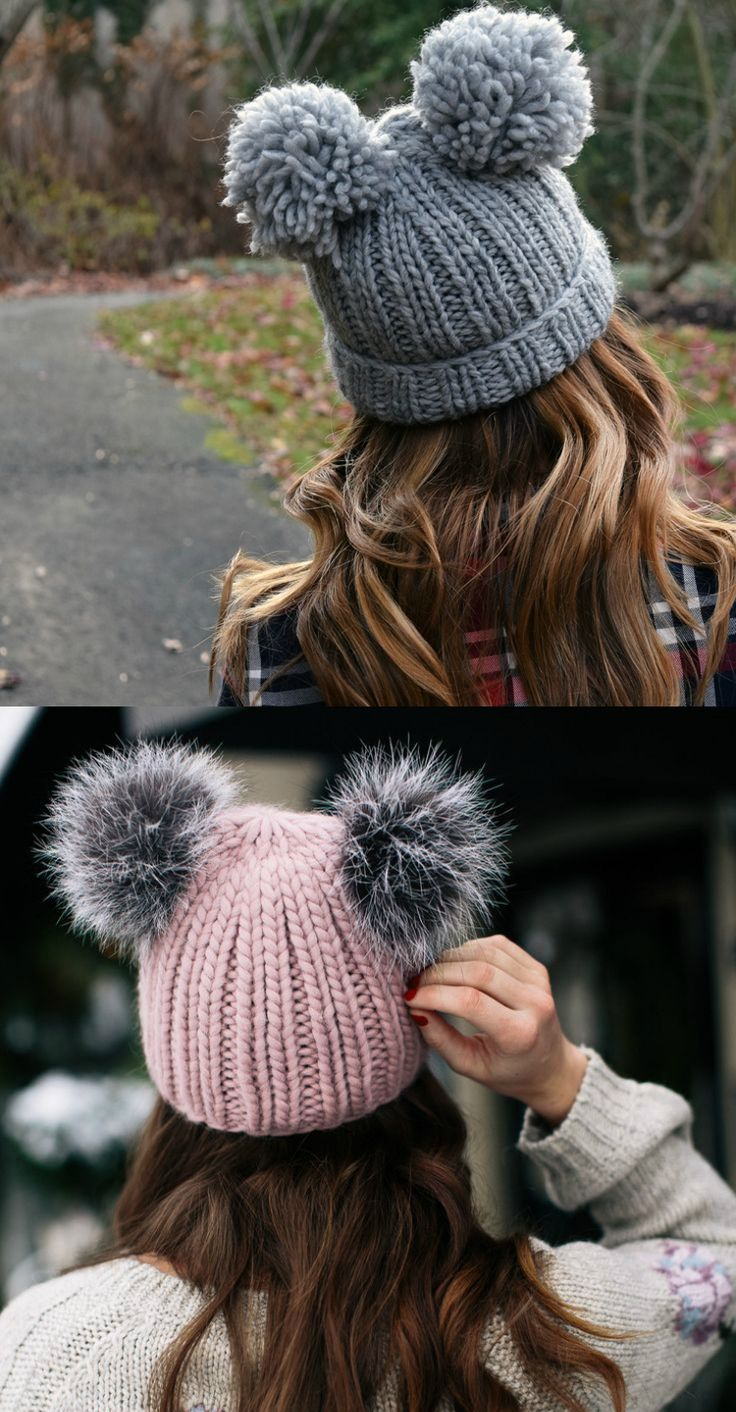 mützen trend 2017 2018 winter strickzwei bommel fell garn #mode #fashion #style #trend