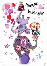 Postkarte Happy Birthday, Elefanten