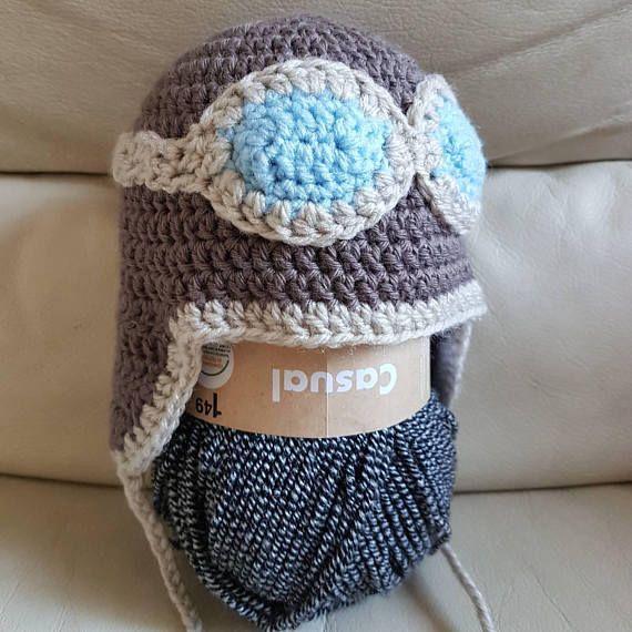Bonnet aviateur au crochet  bonnet naissance cadeau  bébé